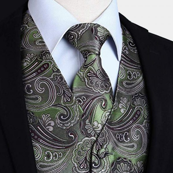 Olive Green Silk Paisley Tuxedo Vest And Tie Set from Gentlemansguru.com