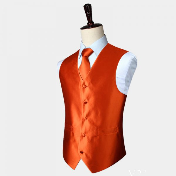 Orange Waistcoat And Tie Set from Gentlemansguru.com