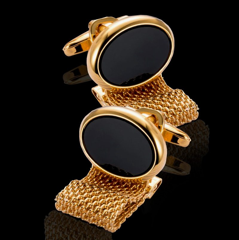 Oval Black And Gold Wrap Around Cufflinks Set from Gentlemansguru.com