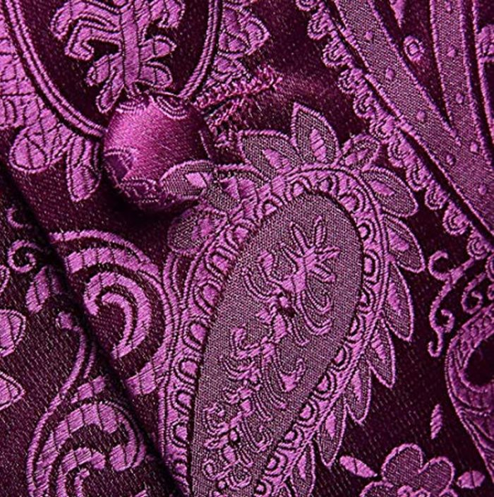Patterned Royal Purple Paisley Silk Vest And Tie Set from Gentlemansguru.com