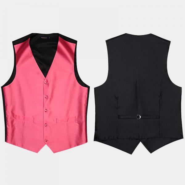 Pink And Black Vest & Tie Set Silk from Gentlemansguru.com