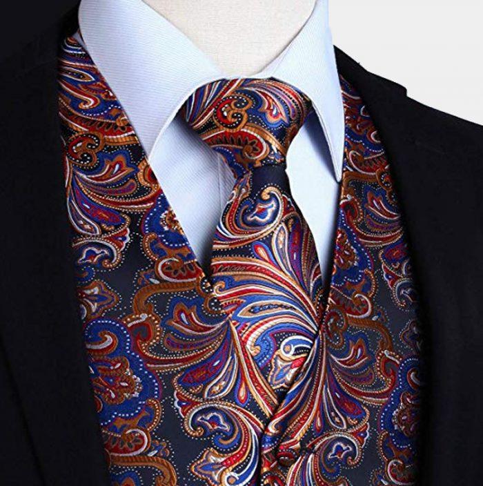 Red-Blue-Gold Silk Paisley Tuxedo Vest And Tie Set from Gentlemansguru.com