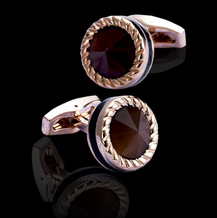 Rose Gold Cats Eye Cufflinks Set from Gentlemansguru.com
