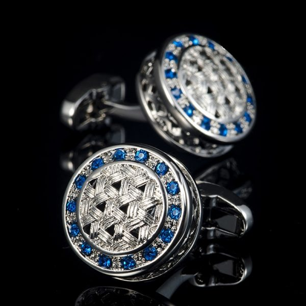 Round Silver And Blue Cufflinks With Crystal from Gentlemansguru.com