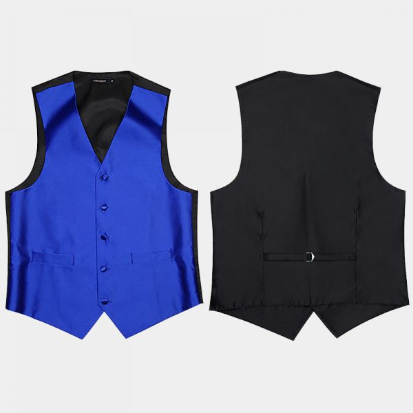 Royal Blue And Black Vest-Waistcoat With Tie And Pocket Swuare from Gentlemansguru.com