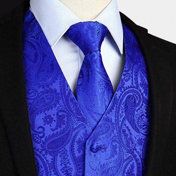Royal Blue Paisley Vest-Waistcoat And Tie Set Tuxedo-Wedding-Groom from Gentlemansguru.com