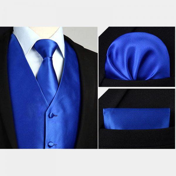 Royal Blue Silk Vest And Tie Set For Men from Gentlemansguru.com
