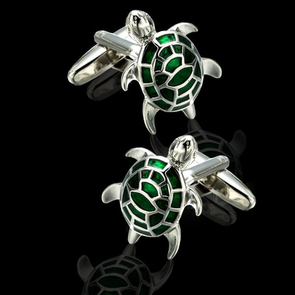 Sea Turtle Cufflinks With Silver and Green Enamel from Gentlemansguru.com