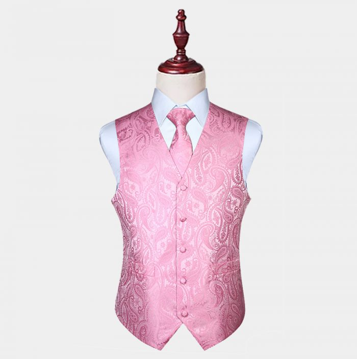 Silk Light Pink Paisley Vest And Tie Set from Gentlemansguru.com