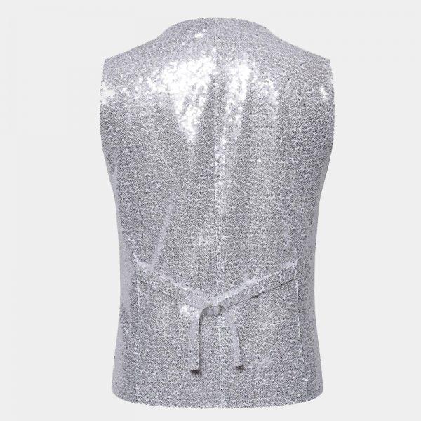 Silver Glitter Waistcoat from Gentlemansguru.com