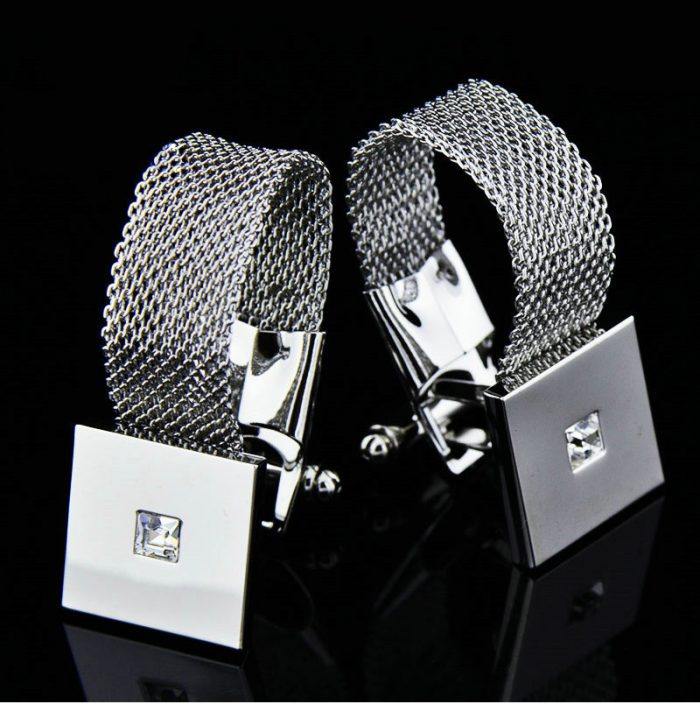 Silver Mesh Wrap Around Cufflinks Set from Gentlemansguru.com