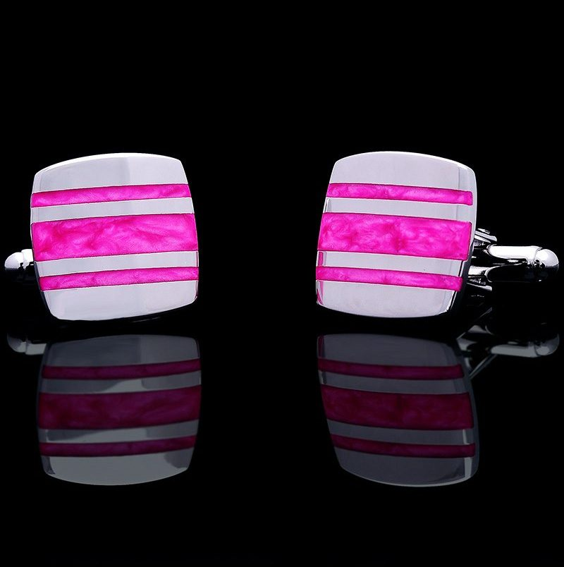 Silver Plated Hot Pink Wedding Cufflinks Set Fro Men from Gentlemansguru.com