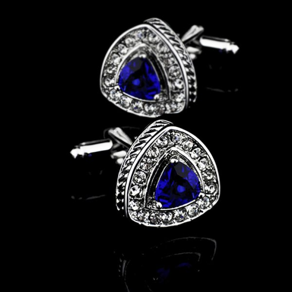 Silver Plated ROyal Blue Crystal Cufflinks from Gentlemansguru.com
