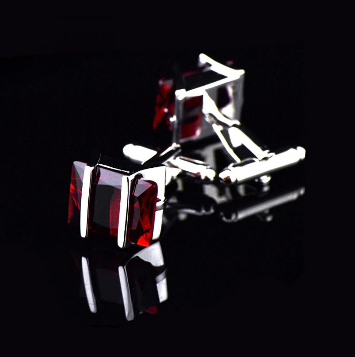 Silver Plated Red Bright Crystal Cufflinks from Gerntlemansguru.com