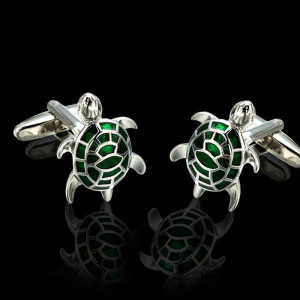 Silver Plated Turtle Cufflinks With Enamel from Gentlemansguru.com