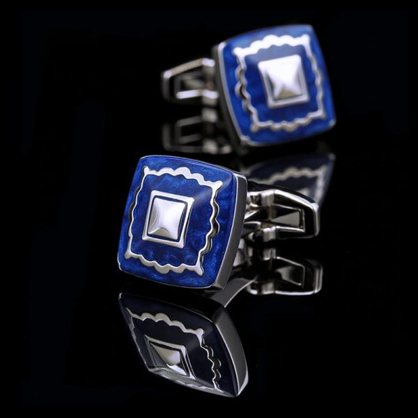 Silver and Blue Enamel Cufflinks from Gentlemansguru.com