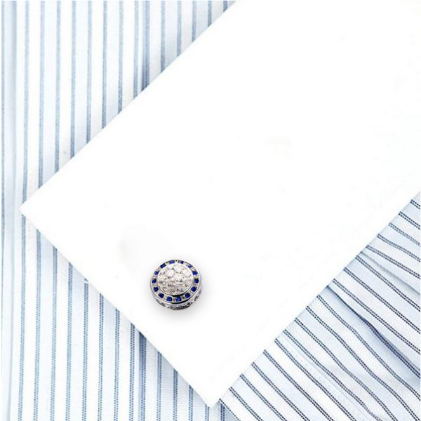 Silver and Blue enamel-Cufflinks from Gentlemansguru.com