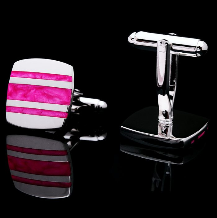 Silver and Hot Pink Enamel Cufflinks Set from Gentlemansguru.com