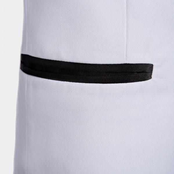 Solid White Tuxedo Whit Black Trim and PAnts from Gentlemansguru.com