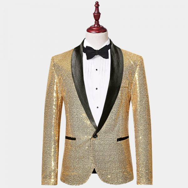 Sprakly Black And Gold Sequin Jacket Tuxedo Blazer from Gentlemansguru.com