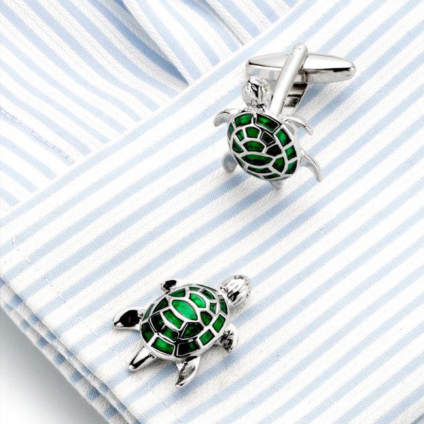 Sterling Silver Turtle Cufflinks Sea Turtle Cufflinks Set from Gentlemansguru.com
