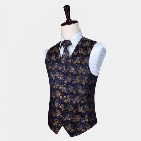 Tan and Blue Tuxedo Vest Paisley Waistcoat For Men Groom-Wedding from Gentlemansguru.com