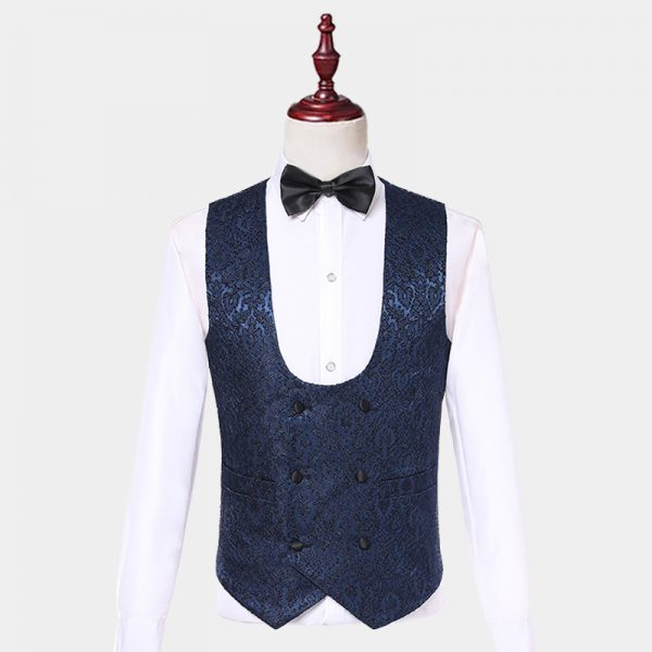 Vintage Pattern Navy Blue Tuxedo Vest from Gentlemansguru.com
