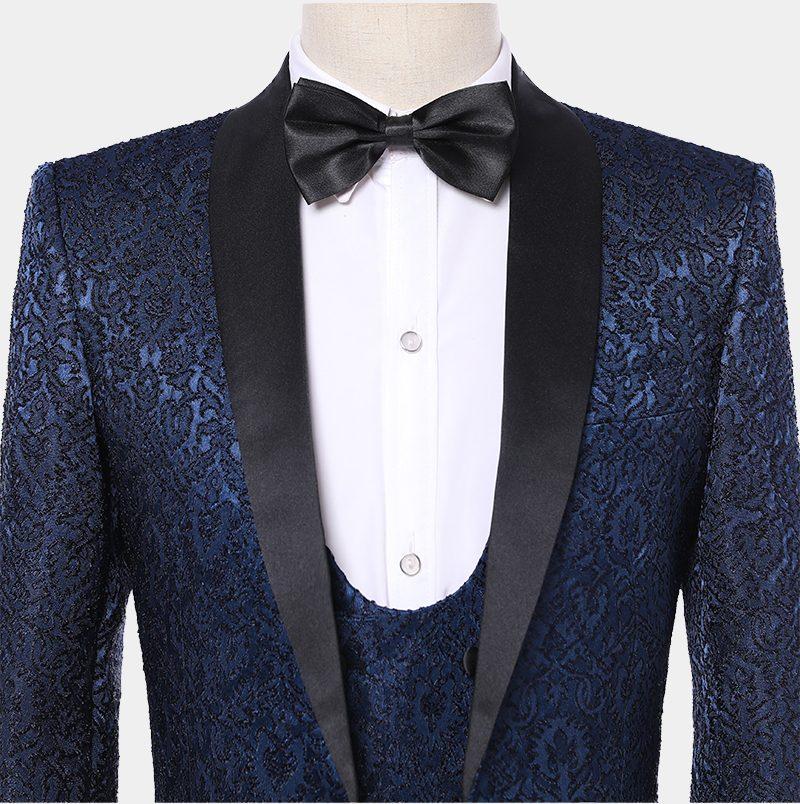 Vintage Print Navy Blue Tuxedo Jacket With Black Lapel from Gentlemansguru.com
