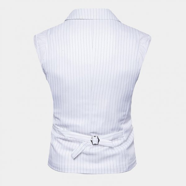 White Double Breasted Pinstripe Waistcoat Vest Suit from Gentlemansguru.com