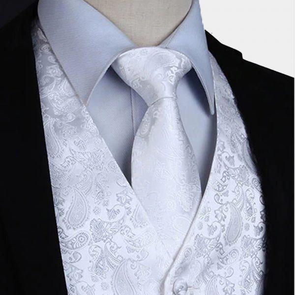White Paisley Waistcoat For Men Wedding Waistcoat Vest Paisley Design from Gentlemansguru.com