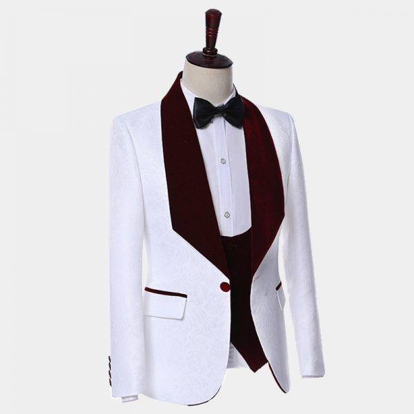 White Tuxedo Jacket With Burgundy Velvet Shawl Lapel from Gentlemansguru.com