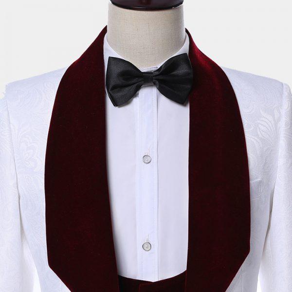 White Tuxedo Suit With Burgundy Velvet Shawl Lapel from Gentlemansguru.com