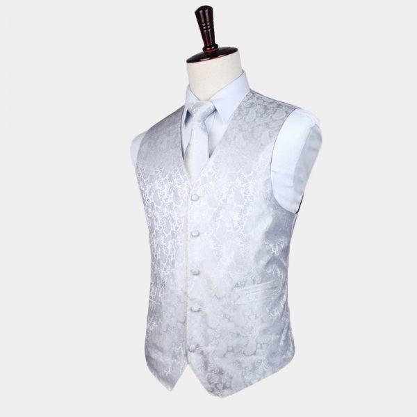 White Tuxedo Vest Paisley Waistcoat For Men Groom-Wedding from Gentlemansguru.com