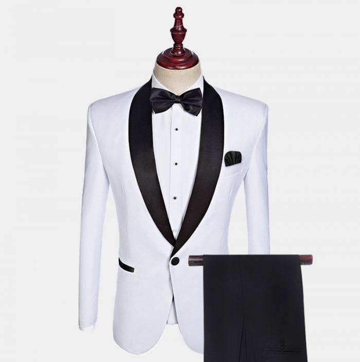White Tuxedo With Black Pants and Shawl Lapel from Gentlemansguru.com