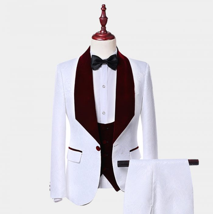 White and Burgundy Tuxedo Suit With Burgundy velvet vest and Shawl Lapel from Gentlemansguru.com