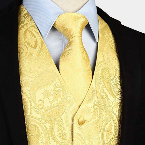Yelow Paisley Tie And Vest Set For Men from Gentlemansguru.com