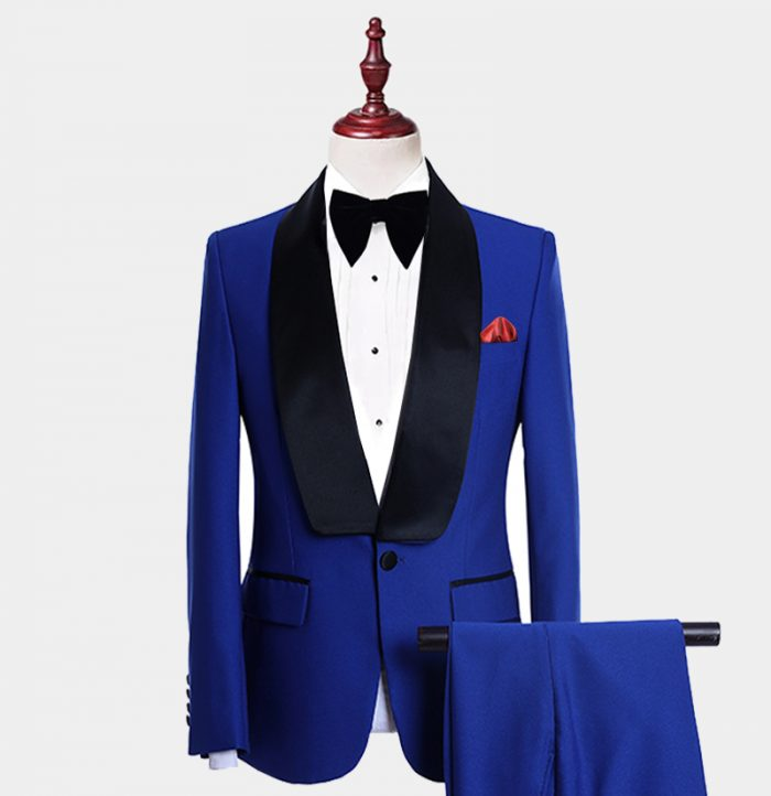 Black And Royal Blue Tuxedo Suit For Prom-Wedding from Gentlemansguru.com