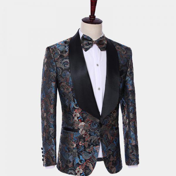 Black Shawl Lapel Wedding-Prom Embroidered Tuxedo from Gentlemansguru.com