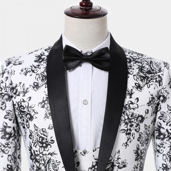 Black And White Floral Suit Tuxedo from Gentlemansguru.com