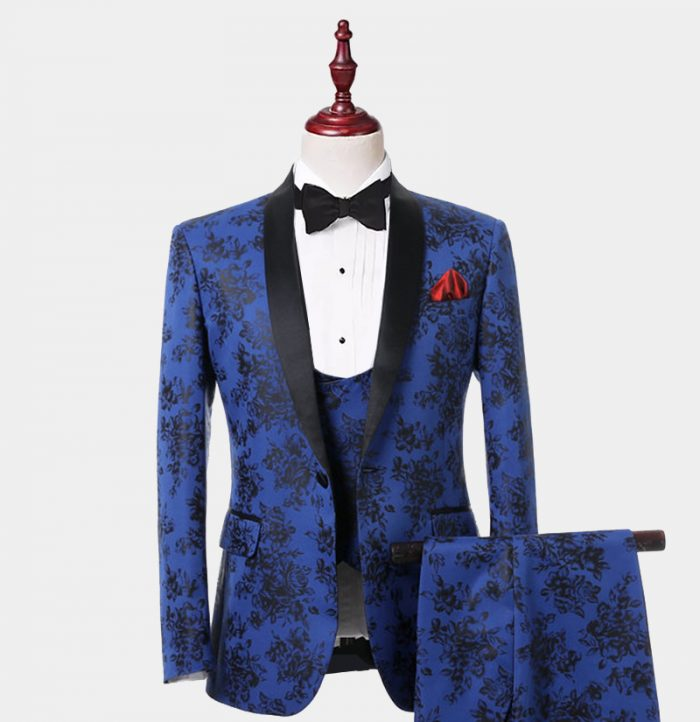 Blue And Black Tuxedo with Floral Print for Wedding-Prom from Gentlemansguru.com