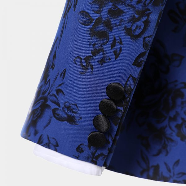 Blue And Black Tuxedo With Floral Print For Prom-Wedding from Gentlemansguru.com