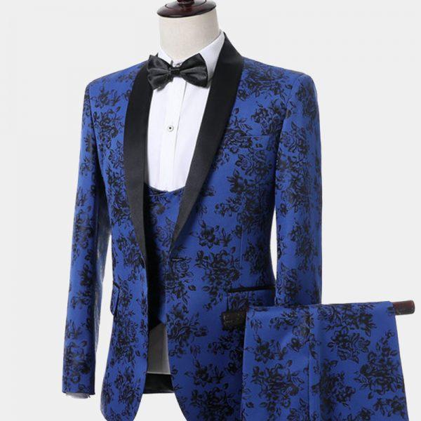 Blue And Black Wedding Tuxedo Suit For Groom from Gentlemansguru.com