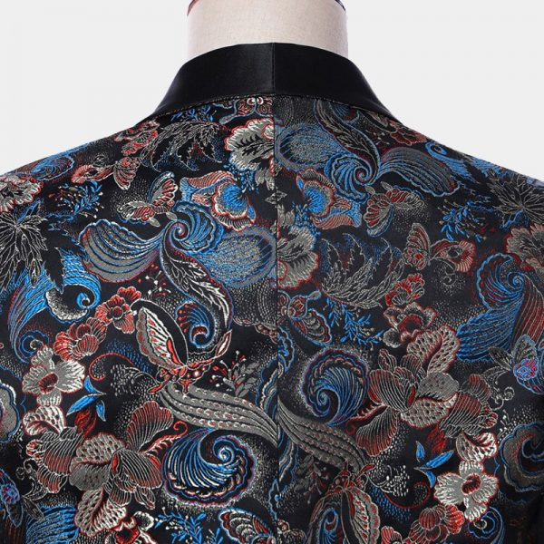 Blue Floral Embroidered Tuxedo Suit from Gentlemansguru.com