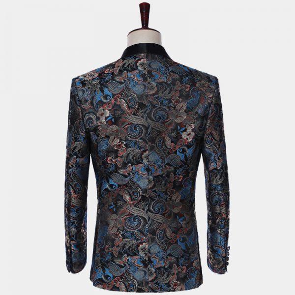 Mens Black Embroidered Tuxedo Jacket Blazer from Gentlemansguru.com