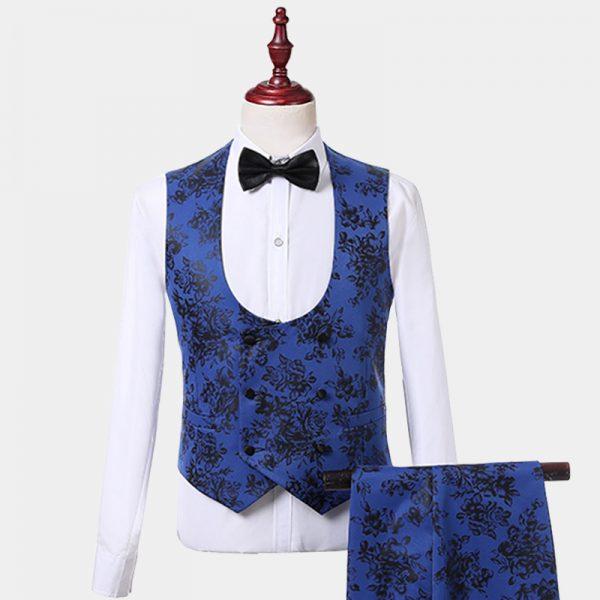 Mens Blue And Black Tuxedo Vest-Waistcoat from Gentlemansguru.com