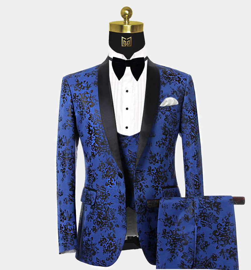 Mens-Blue-and-Black-Tuxedo-with-Floral-Print-Wedding-Prom-Suit-from-Gentlemansguru.com