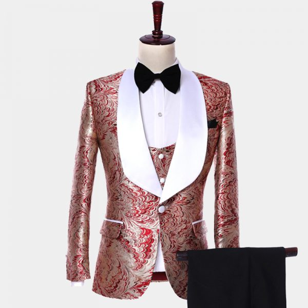 Mens Red And Champagne Tuxedo Suit from Gentlemansguru.com