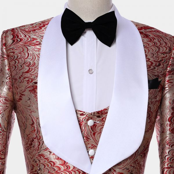Mens Red And Champagne Wedding Tuxedo Suit With Shawl Lapel from Gentlemansguru.com