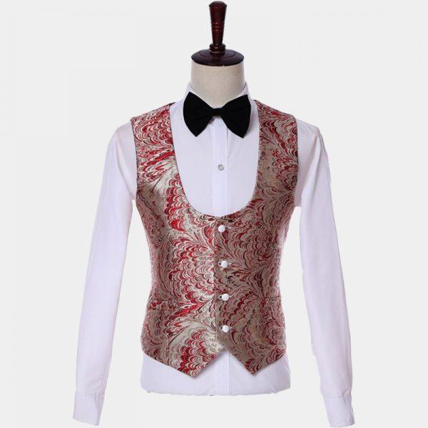 Mens Wedding- Prom-Red And Champagne Tuxedo Vest Waistcoat from Gentlemansguru.com
