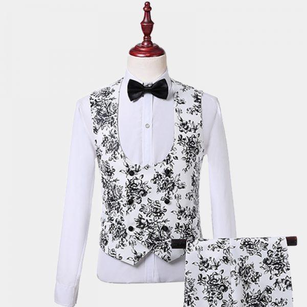 Mens White And Black Floral Tuxedo Vest-Waistcoat from Gentlemansguru.com